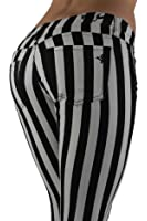 6065 - Black & White Striped 5 Pockets Classic Stretch Skinny Jeans