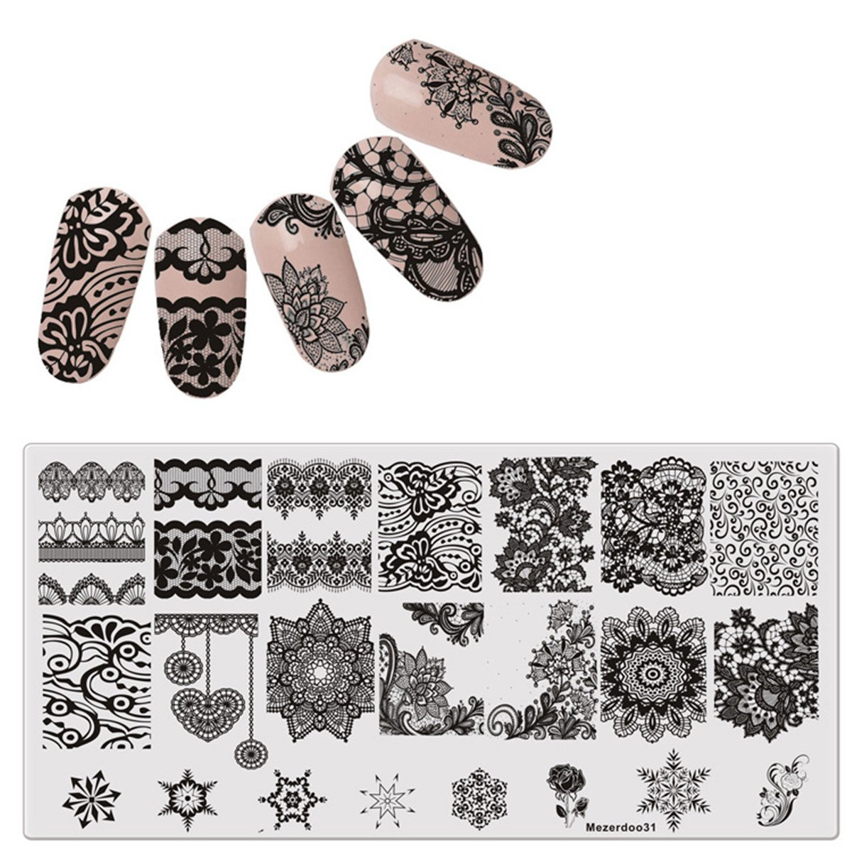 Amazon.com : Born Pretty Nail Art Stamping Template Image Plate Lace ...