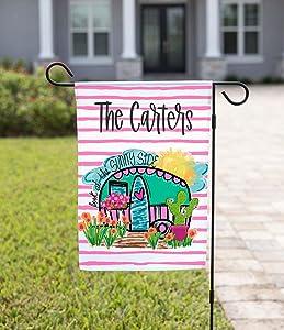 Personalized Garden Flag, Monogram Garden Flag, Happy Camper, Custom Garden Flag, Closing Garden Decal, New Home Garden Decal, Personalized Flag