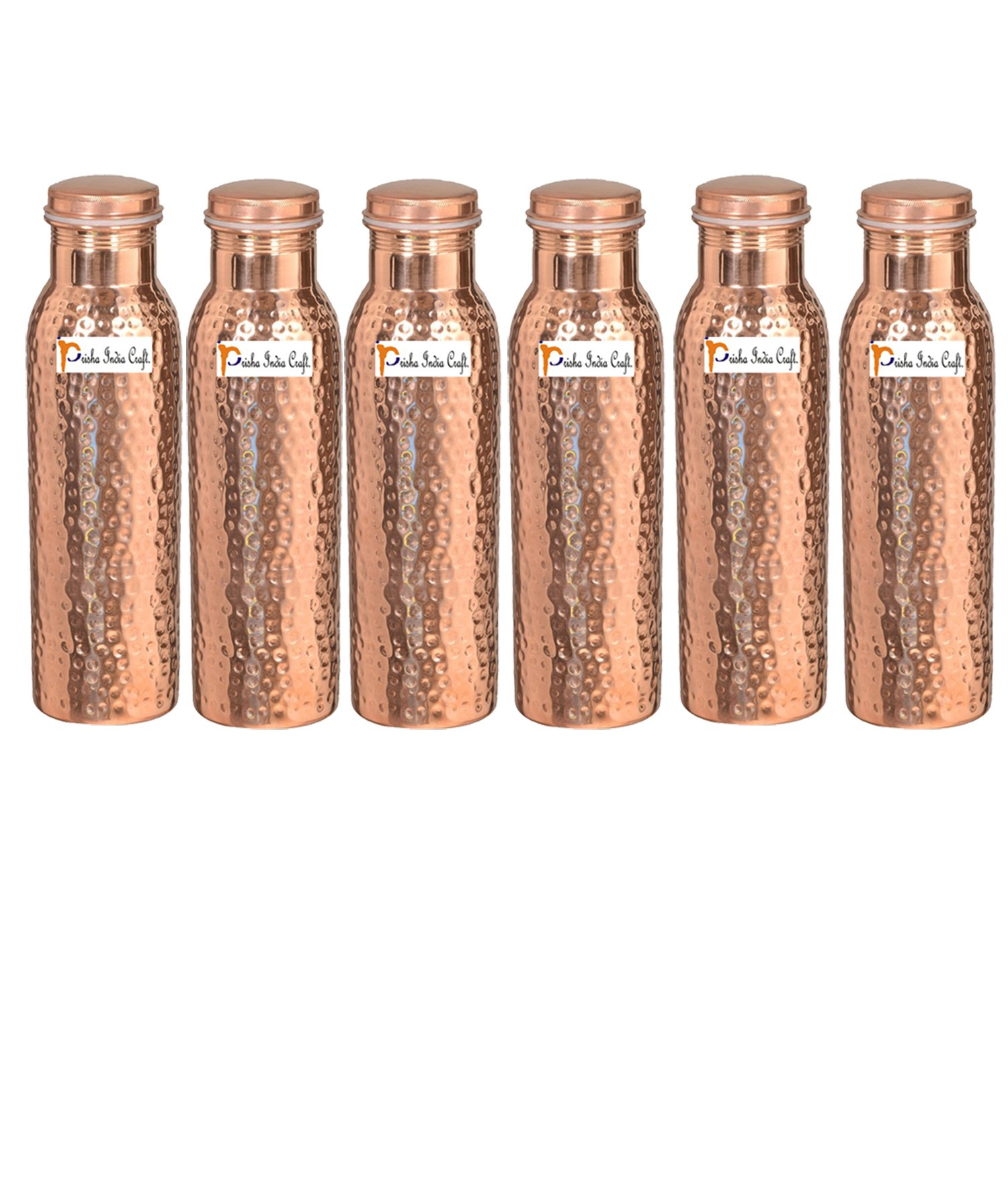 900ml / 30oz – Set of 6 - Prisha India Craft ® Pure Copper Water Bottle Ayurveda Health Benefits - Best Quality Water Bottles Joint Free, Handmade Christmas Gift