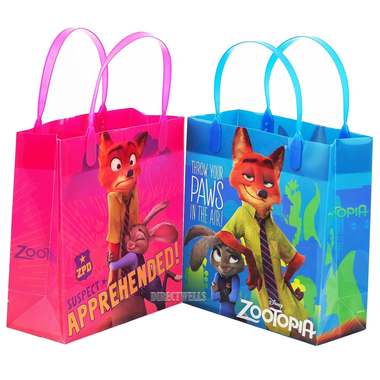 12 bags DISNEY Zootopia Authentic Licensed Reusable Party Favors Plastic Medium Goodie Bag 8