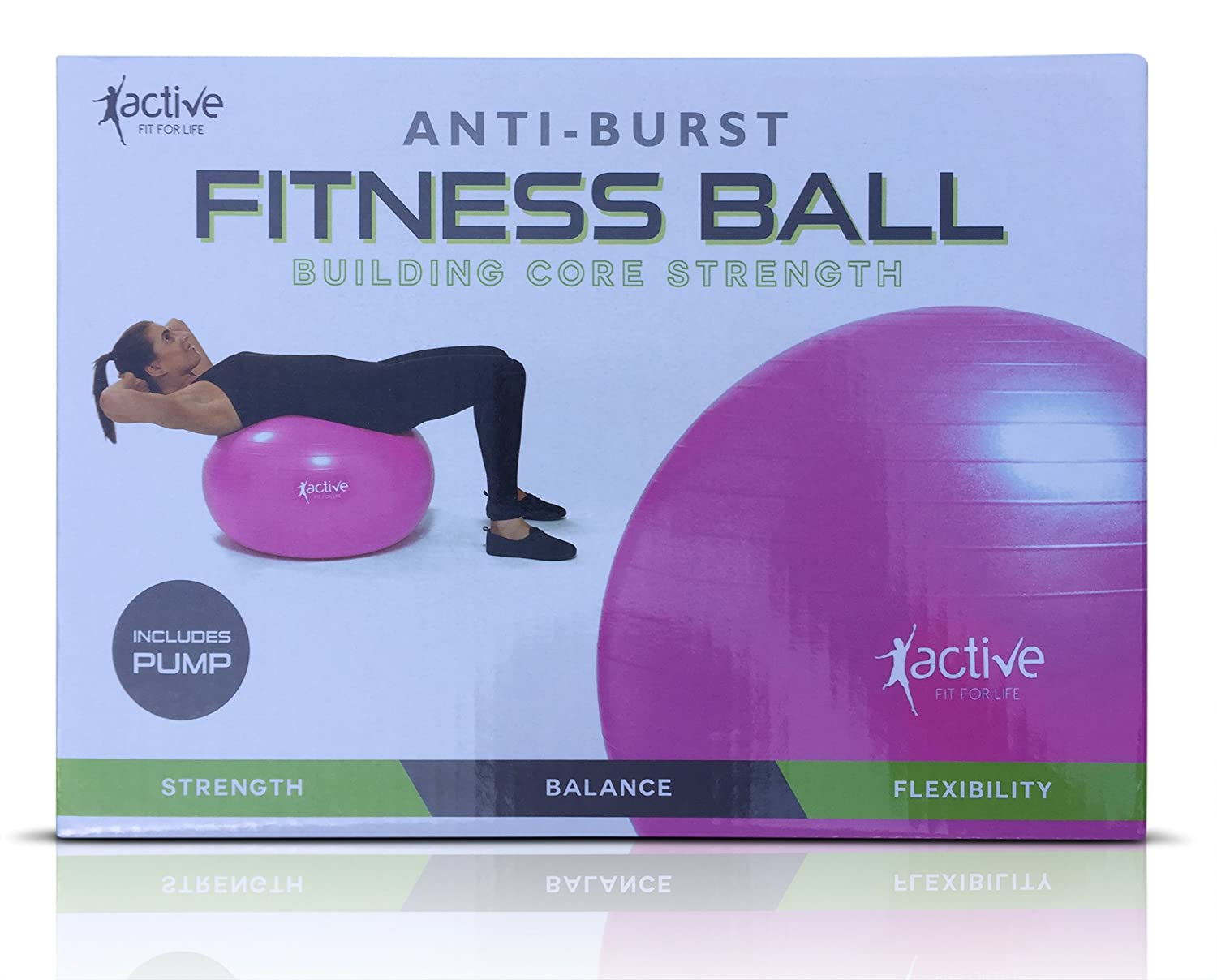 """Anti-Burst Exercise Ball 65cm / 25.5"""" Heavy Duty Fitness Ball with Pump Active Fit For Life"""