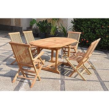Mon Usine 1456 Le Leti Mix Salon de Jardin Teck 6/8 Personnes 4 chaises 2  fauteuils + Table Ovale Marron 120 x 90 x 75 cm