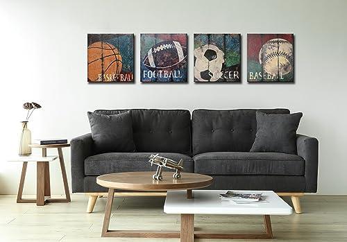 Natural art-Basketball Soccer Football Sports Themed Canvas Wall Art