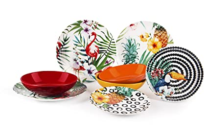 Excelsa Tropical Chic Servizio Piatti 18 Pezzi, Porcellana, Multicolore