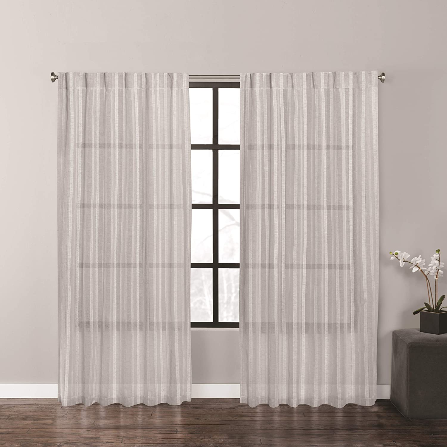 Vera Wang Fil Coupe Stripe Window Panel Pair, 96 Inches, Grey