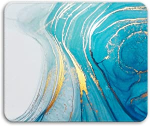 HOPONY Mouse Pad with Stitched Edge, Premium-Textured Mouse Mat, Non-Slip Rubber Base Mousepad for Laptop, Computer & PC,9.5×7.9 inches,Ocean Gold Marble