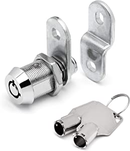 "Tubular Cam Lock with 7/8"" Cylinder and Chrome Finish, Keyed Alike with 2 Keys, 1 1/4"" Cam and Offset Cam"