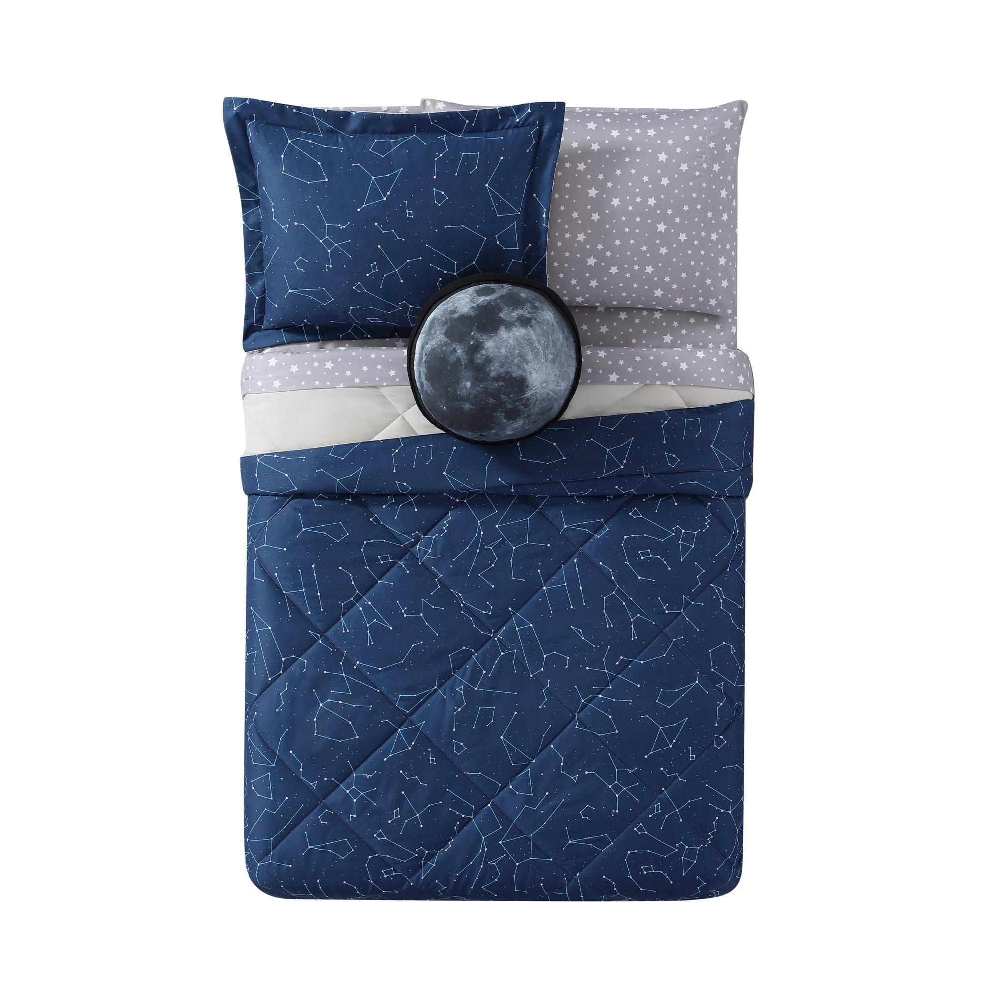 Laura Hart Kids Night Sky Printed 2-Piece Comforter Set, Twin X-Large, Midnight Blue Night Sky