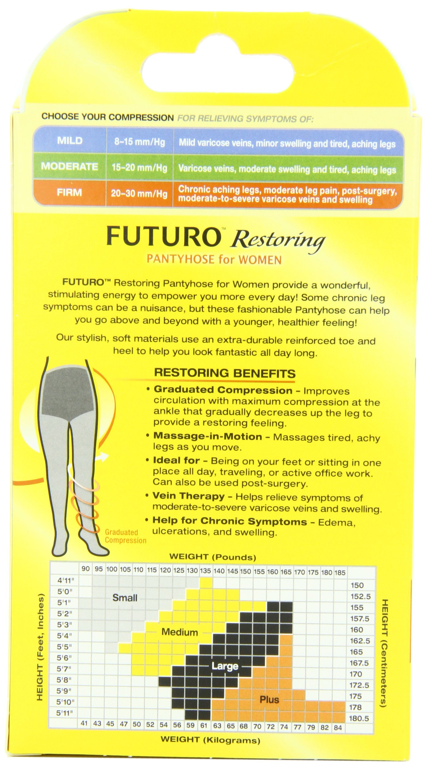 Futuro Restoring Pantyhose for Women, Helps Improve Circulation for Tired Legs, Eases Symptoms of Moderate-to-Severe Varicose Veins, Brief Cut, Large, Nude, Firm Compression by Futuro (Image #4)