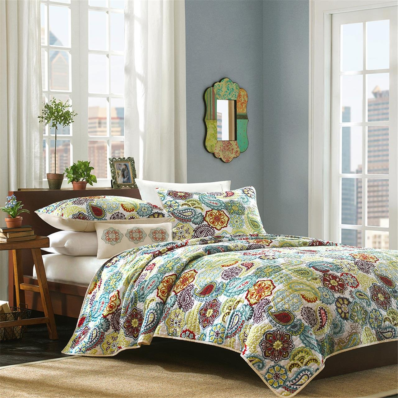 Mi-Zone Tamil Coverlet Set, King/California King, Multicolor