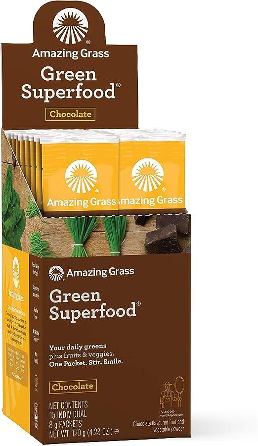 Amazing Grass Green Superfood, Suplemento Alimenticio en Polvo a base de Frutas, Verduras y Superalimentos Organicos con Probioticos y Enzimas Digestivas, Chocolate: Amazon.es: Salud y cuidado personal