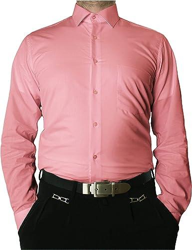 Camisa de manga larga sin arrugas con cuello clásico para hombre, varios colores disponibles rosa 39: Amazon.es: Ropa y accesorios
