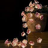 Flower Fairy Lights, 10Ft 30 LED Pink Cherry Blossom String Lights Indoor Battery Operated String Lights for Bedroom Christma