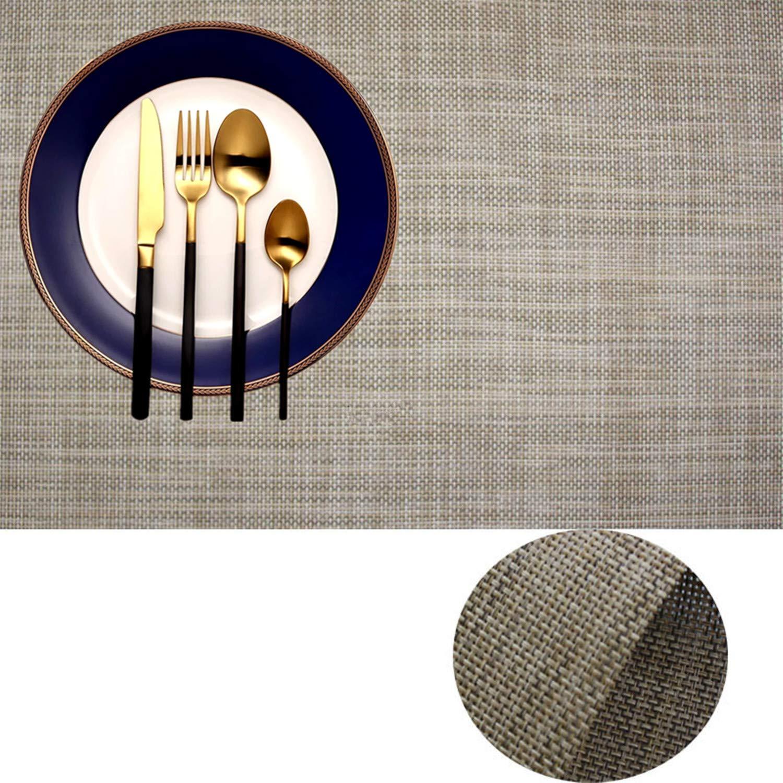プレースマット IMIYOKU ミニ バスケット編み ビニール製 織り生地 ノンスリップ 断熱性 洗濯可能 テーブルマット 8 Golden White B072618P1V