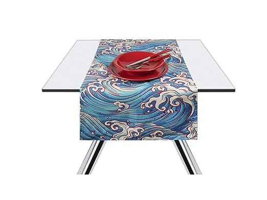Excelsa Kimono Onde - Camino de Mesa, 100% algodón, Color Azul, 45 ...