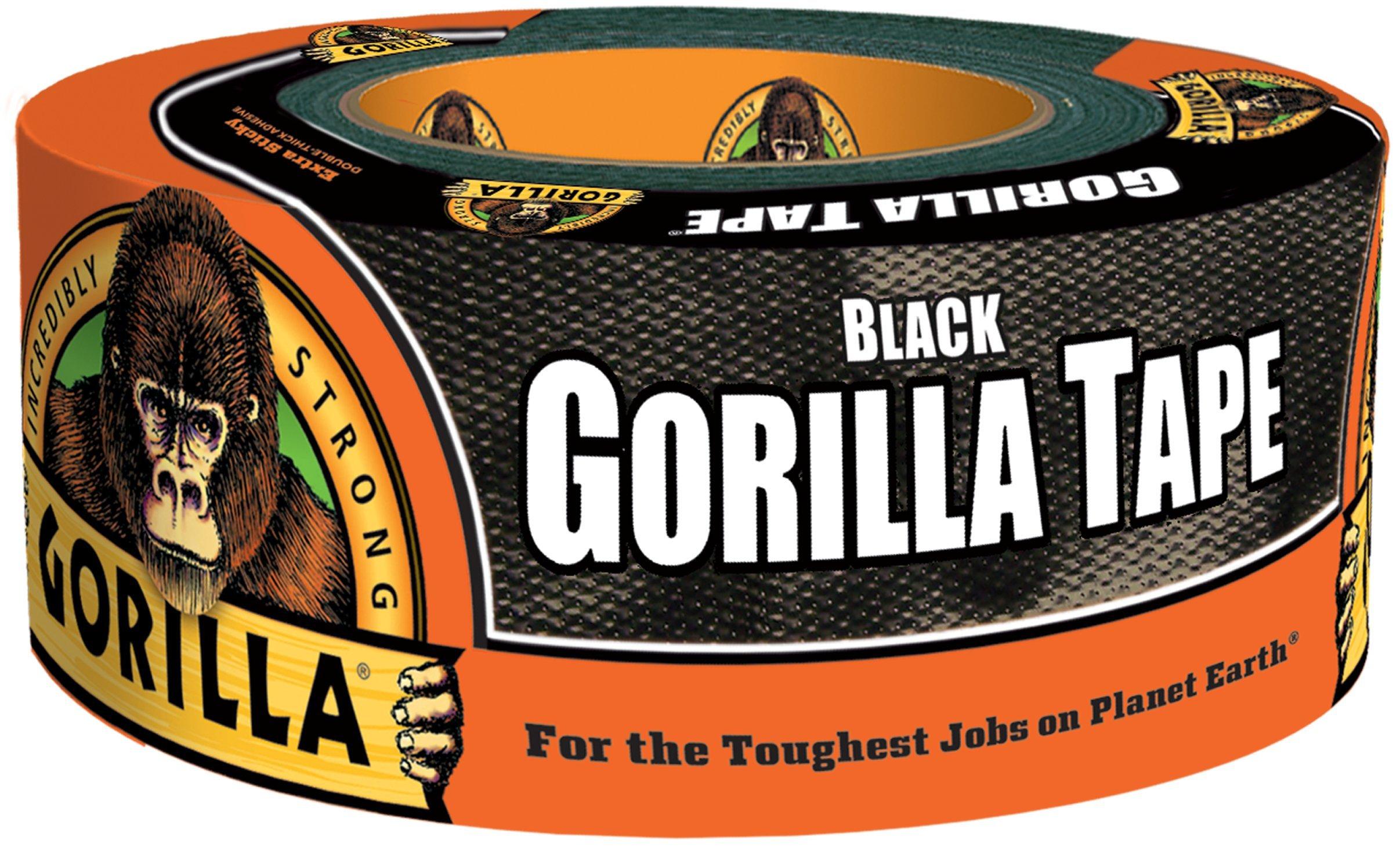 Gorilla Tape, Black Duct Tape, 1.88'' x 12 yd, Black, (Bulk Pack of 16)