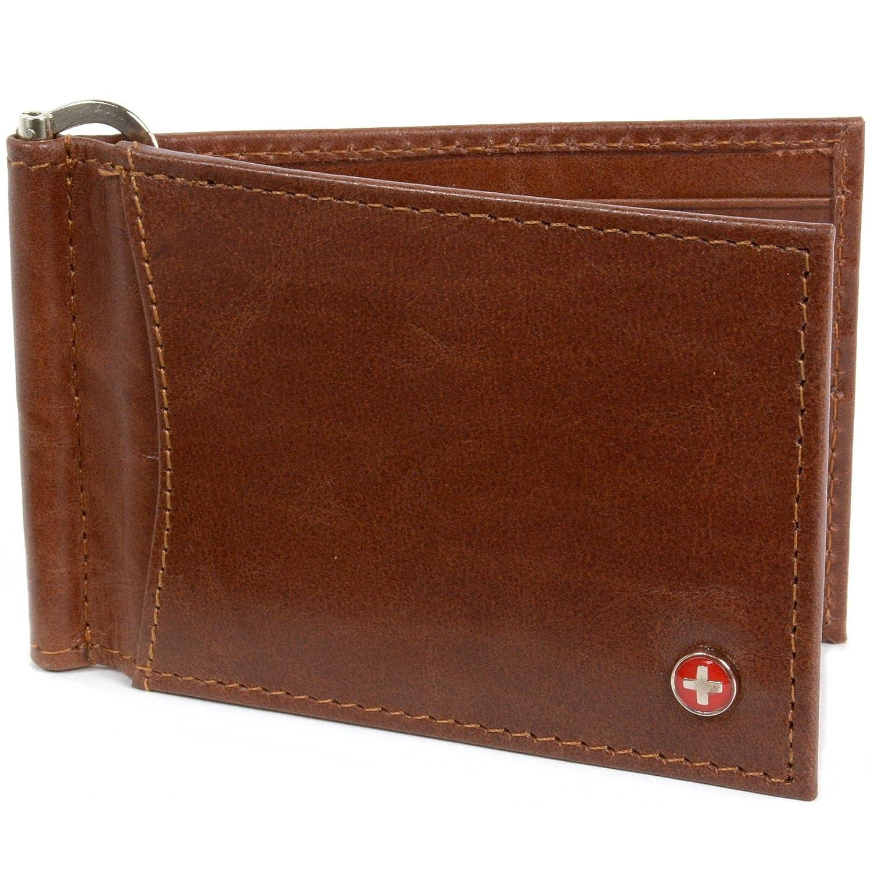 Alpine Swiss RFID Blocking Men's Leather Spring Loaded Money Clip Wallet RFID140-BLK