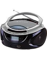 Sunstech CRUSM395BTSL - Radio CD portátil estéreo con Bluetooth, USB y Lector de Tarjetas SD, Color Plata