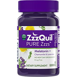 #16 Vicks ZzzQuil PURE Zzzs Melatonin Natural Flavor Sleep Aid Gummies with Chamomile, Lavender, &