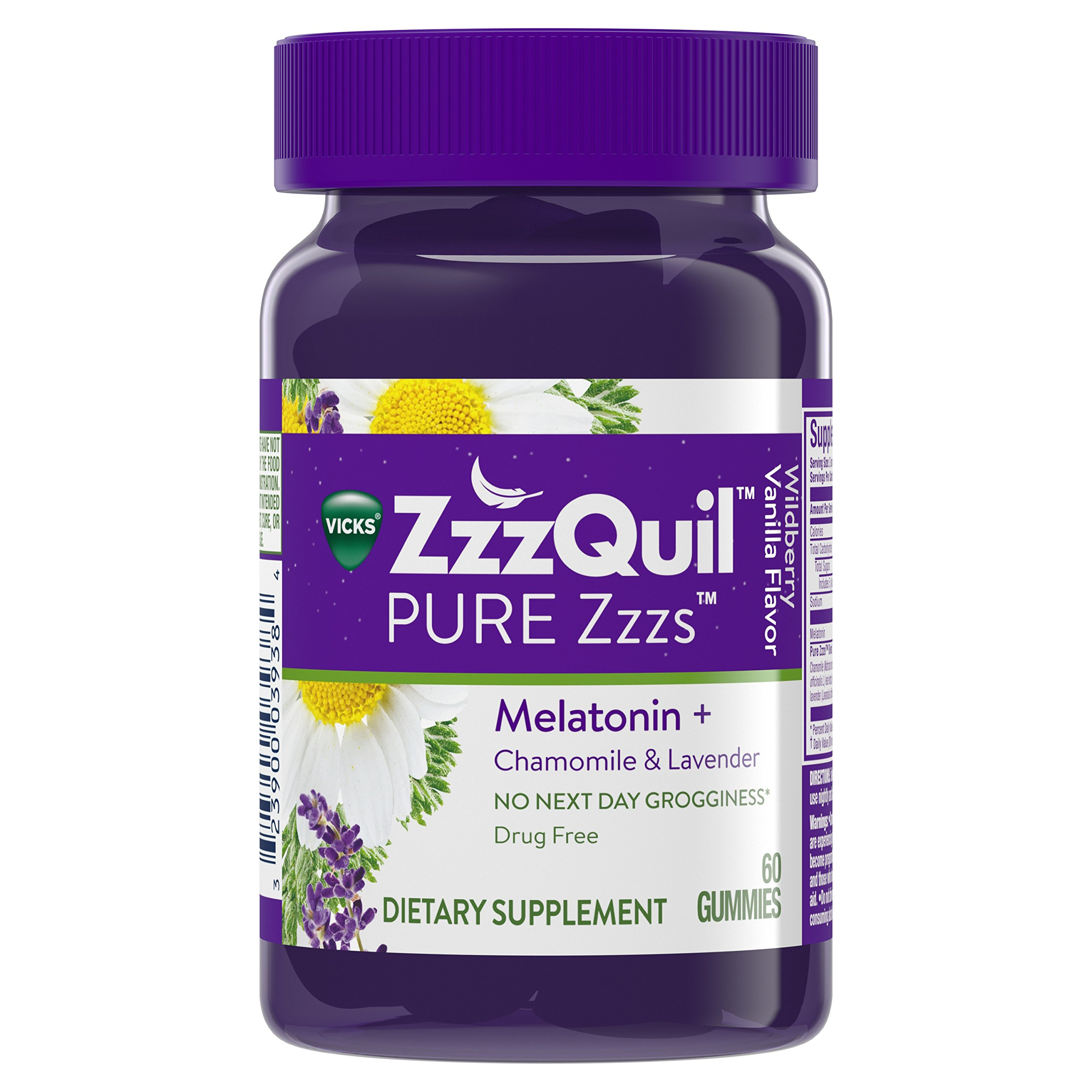 PURE Zzzs Melatonin Natural Flavor Sleep Aid Gummies with Chamomile & Lavender by Vicks ZzzQuil, 1mg per gummy, 60 ct