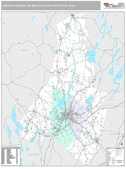 Amazon.com: Lewiston Auburn, ME Metro Area Wall Map   2018   ZIP
