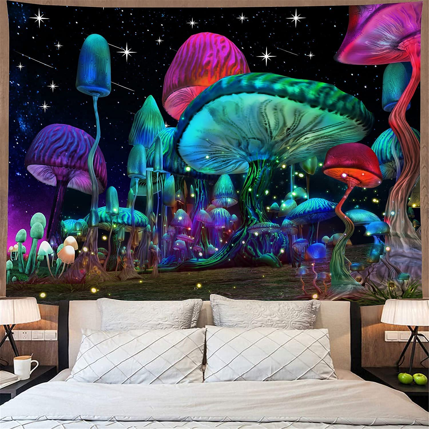 Bacazue Psychedelic Mushroom Tapestry Fantasy Waves Starry sky Tapestry Trippy Wall Hanging Tapestry for Bedroom Living Room Home Decor (29.5