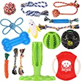 KIPRITII Dog Chew Toys for Aggressive Chewers - 15 Pack Teething Chew Toys for Boredom, Pet Dog Toothbrush Chew Toys…