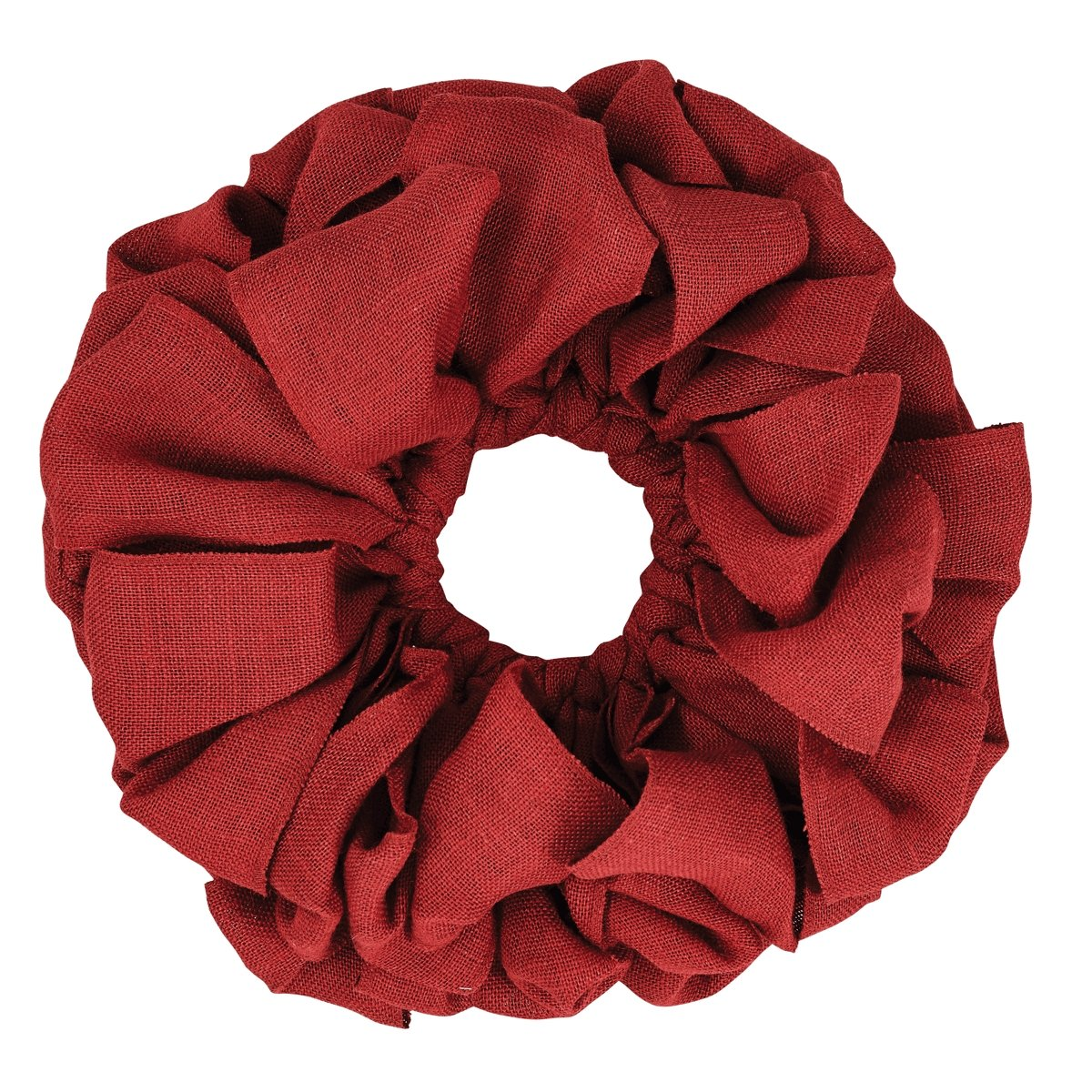 VHC Brands Christmas Holiday Decor - Burlap Round Wreath, Red, 15'' Diameter