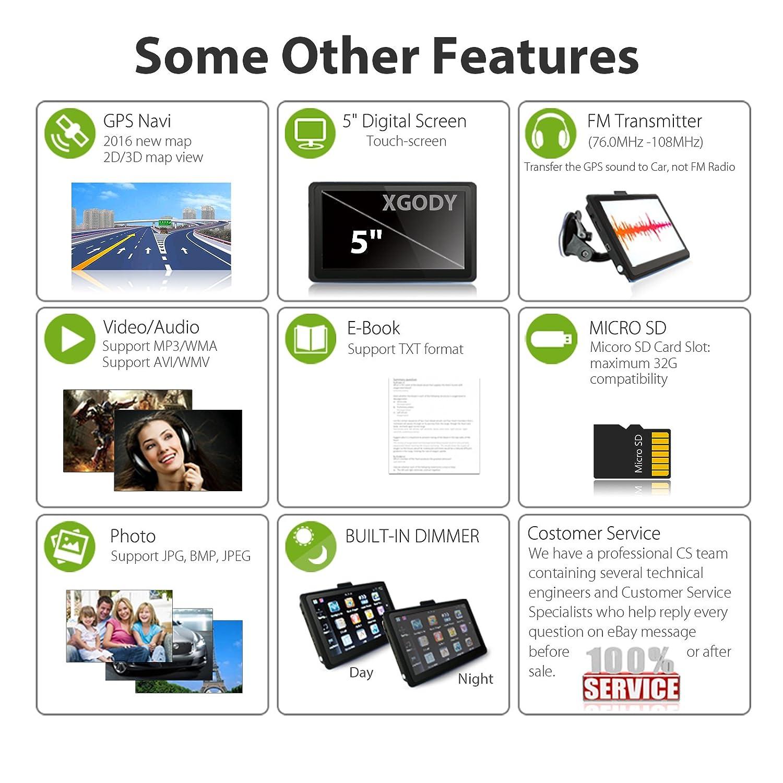 Xgody 504 - Navegador GPS portátil para Coche, Pantalla táctil de 5 Pulgadas, 8 GB ROM integrada con Mapa de por Vida, dirección de Giro con Parasol y ...