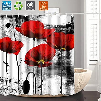 Amazon.com: Shower Curtain,Bathroom Curtain,Red Flower Unique Shower ...