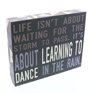 Barnyard Designs Life Isn't About Waiting for The Storm to Pass Box Wall Art Sign, Primitive Country Farmhouse Home Decor Sign with Sayings 10  x 8