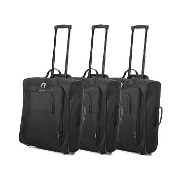 magasin en ligne 7db6d 78f82 Easyjet et British Airways 56x45x25cm Bagage à Main de Cabine maximale  Approuvé Trolley Sac, Huge 60L Capacité, (Noir) (3 x Noir)
