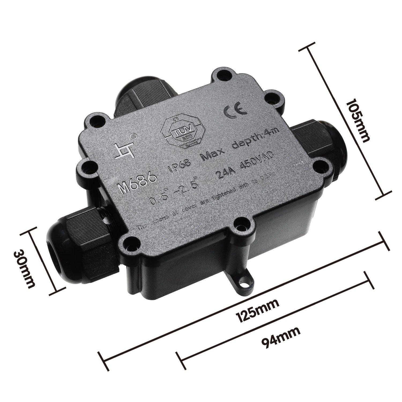 SAMHUE Junction Box IP68 Wasserdichte 3-Wege-Kabelsteckverbinder ...