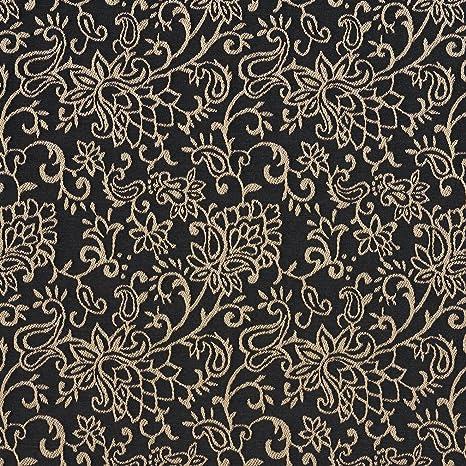 Amazon.com: B606 Negro Contemporáneo floral Jacquard tela ...