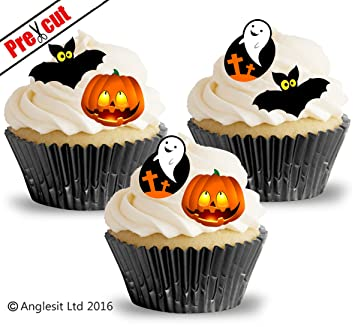 36 x halloween mix edible rice wafer paper cup cake toppers birthday party wedding decoration