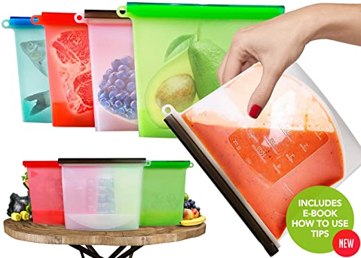 Bolsas alimentos reutilizables hechas silicona lavable vacío ...