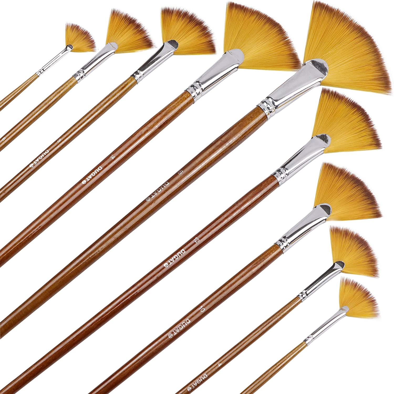 Artist Fan Paint Brushes Set 9pcs - Soft Anti-Shedding Nylon Hair Wood Long Handle Paint Brush Set for Acrylic Watercolor Oil Gouche Painting