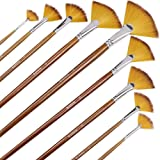 Artist Fan Paint Brushes Set 9pcs - Soft Anti-Shedding Nylon Hair Wood Long Handle Paint Brush Set for Acrylic…