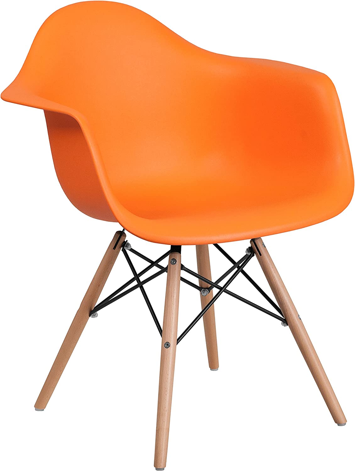 Flash Furniture Alonza Series Orange Plastic Chair with Wooden Legs