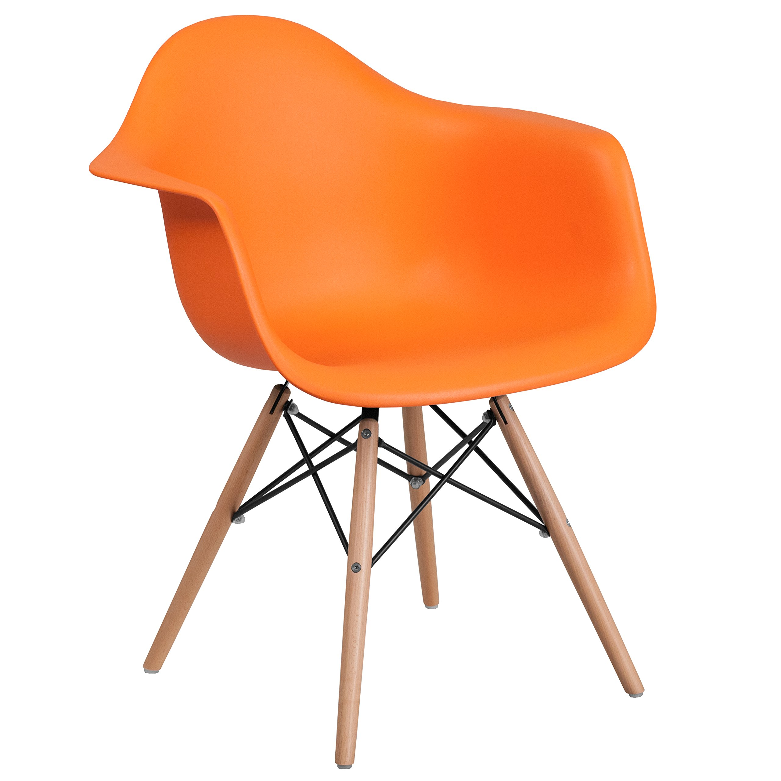 Flash Furniture Alonza Series Orange Plastic Chair with Wood Base