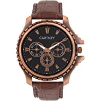 Cartney Copper Analog Black Dial Brown Leather Strap Watch For Men's - CTY-CPR-11