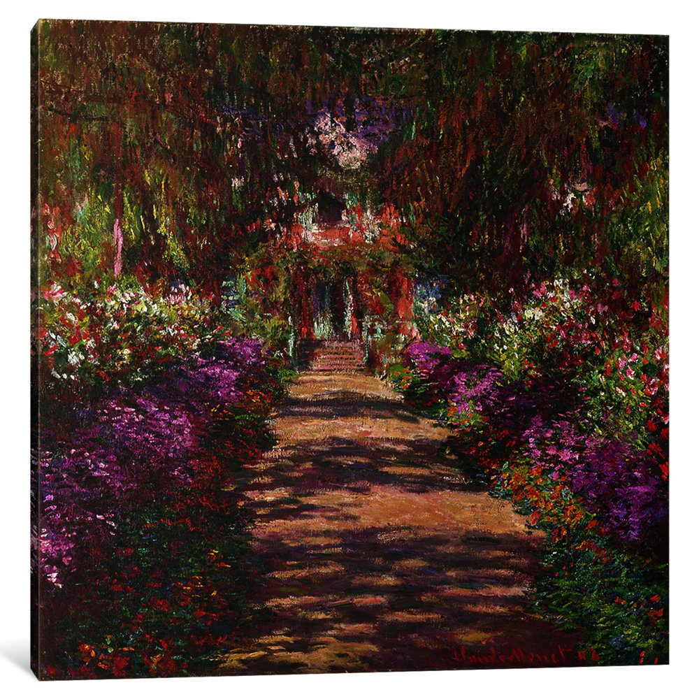 Amazon.com: iCanvasART 1-Piece A Pathway in Monet\'s Garden, Giverny ...