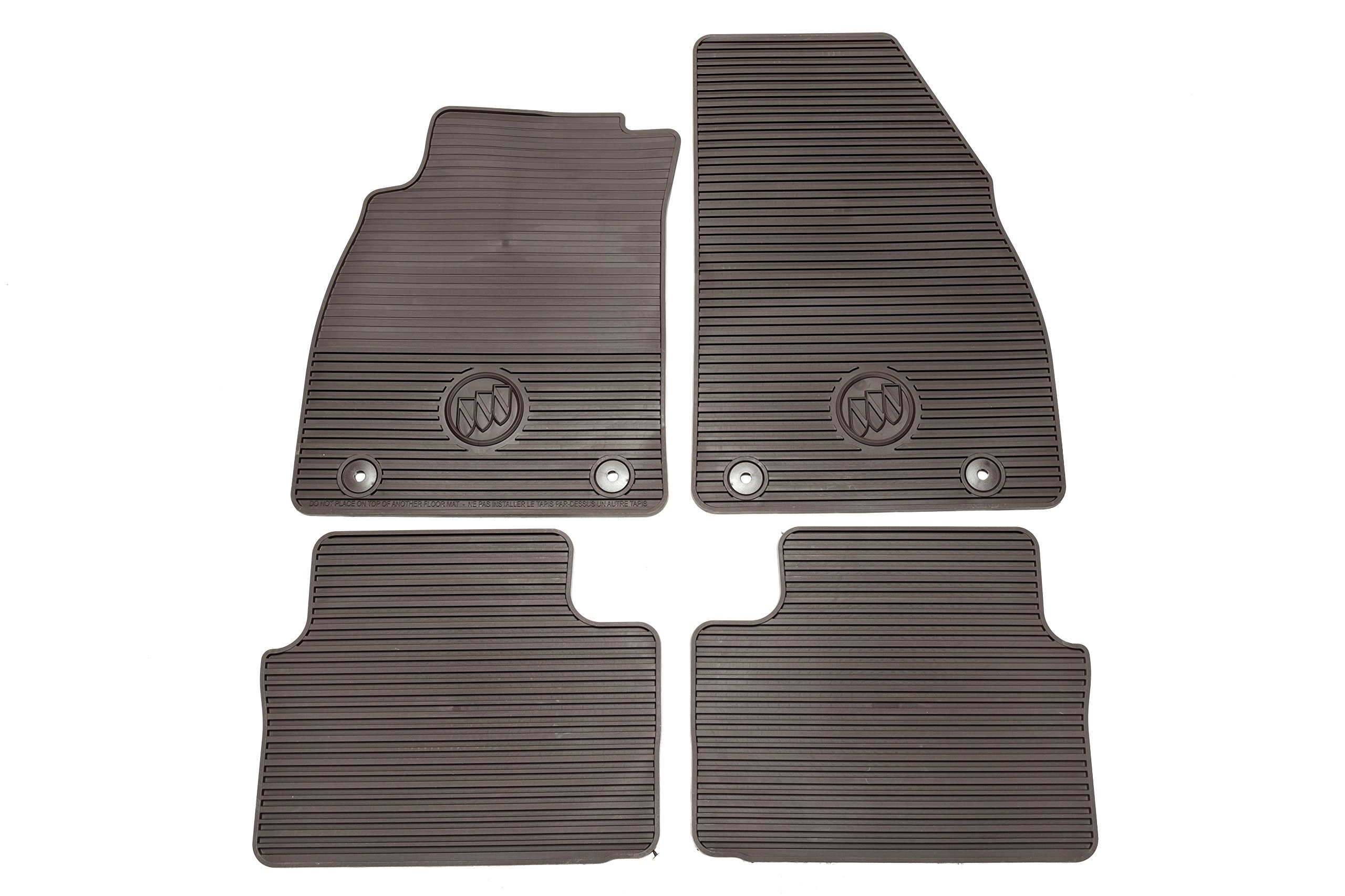 GM Accessories 22986346 Front and Rear All-Weather Floor Mats in Cocoa with Buick Logo by General Motors