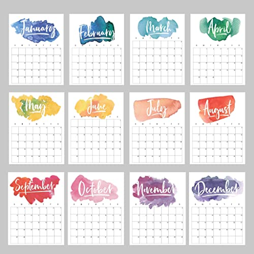 2020 Birthday Calendar Amazon.com: Wall Calendar (Choose 2019 or 2020) Rainbow Watercolor