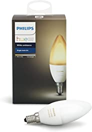 Philips Hue White Ambiance Decorative Candle 40W Dimmable LED Smart Bulb (Hue Hub Required, Works with Alexa, Homekit & Googl