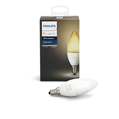 Philips Hue White Ambiance Decorative Candle 40W Dimmable LED Smart Bulb (Hue Hub Required), Works with Alexa, HomeKit and Google Assistant
