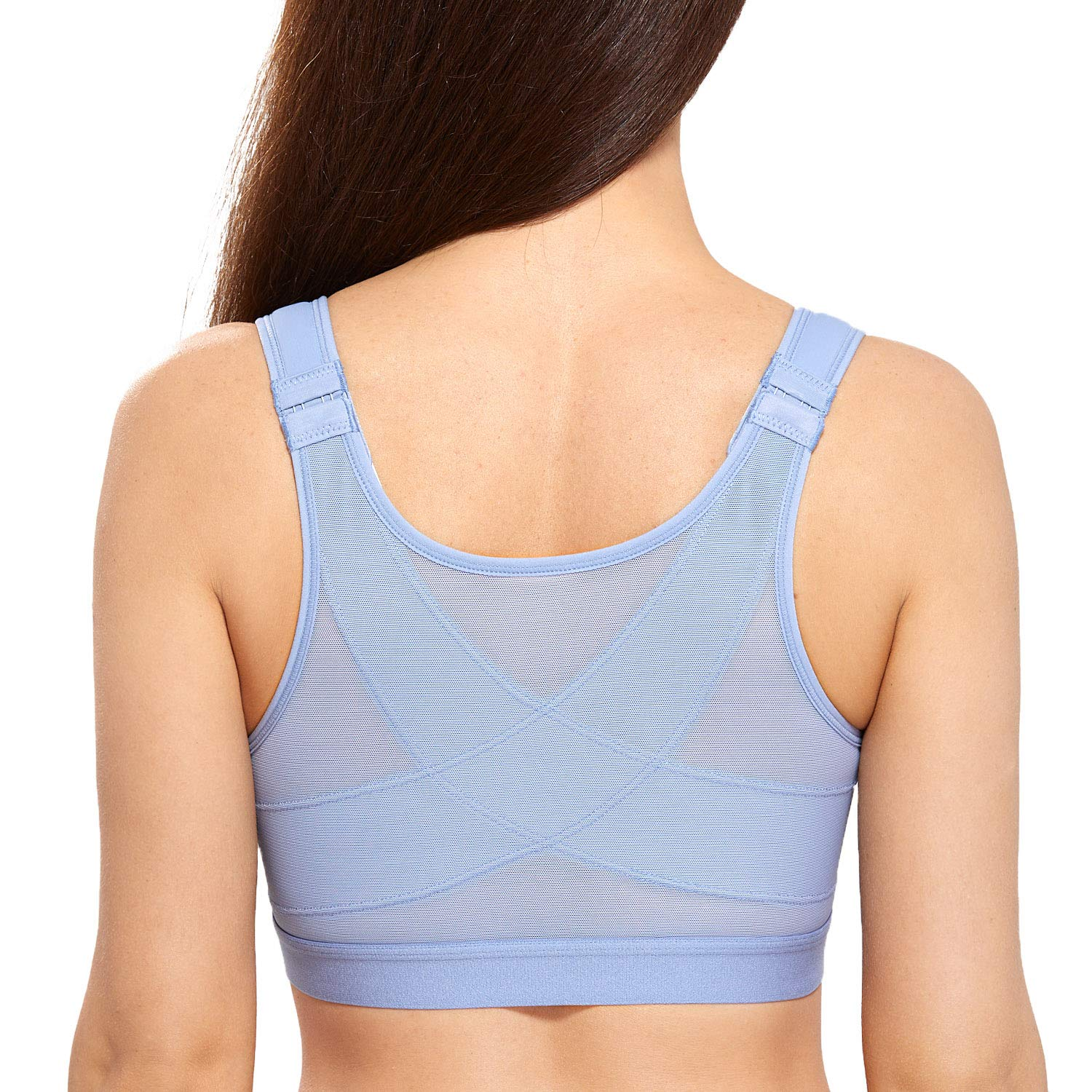 DELIMIRA Women's Full Coverage Front Closure Wire Free Back Support Posture Bra Mystery Blue 42C by DELIMIRA