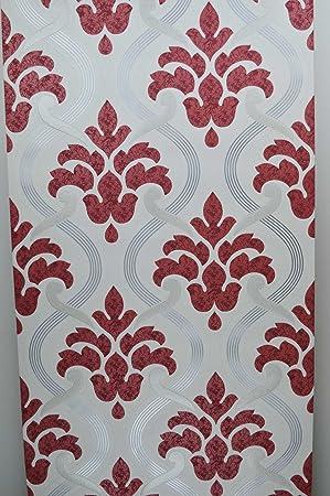 Paillettes Papier Peint Vinyle Texture Rouge Gris Argent Blanc