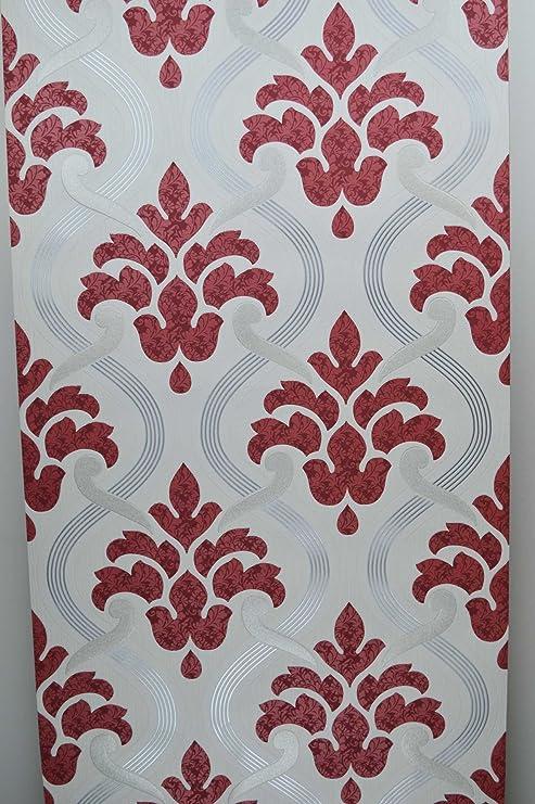 Glitter Sfondo Rosso Argento Grigio Bianco In Vinile Damascata Pasta